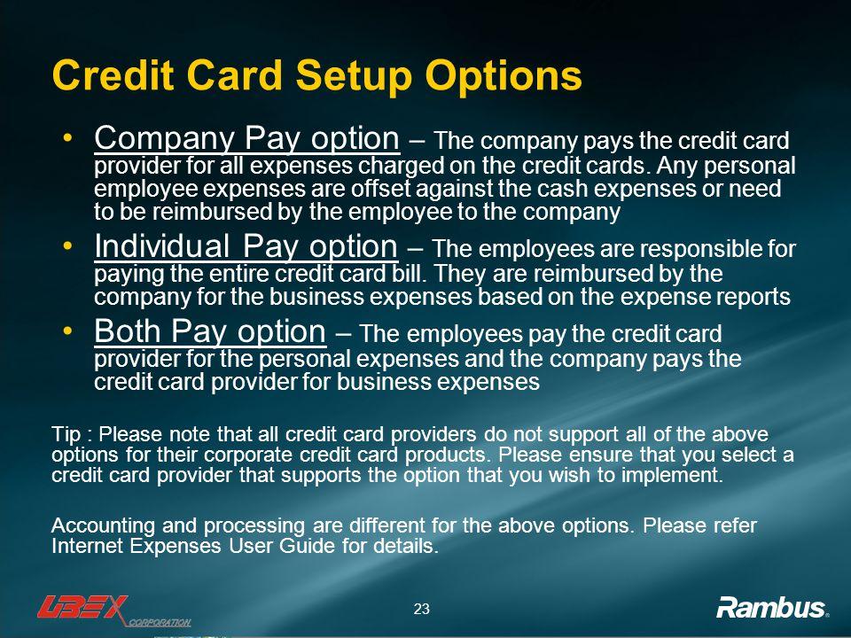 Credit Card Setup Options