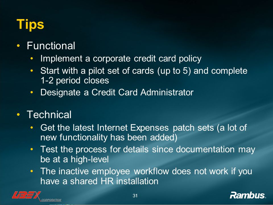 Tips Functional Technical Implement a corporate credit card policy