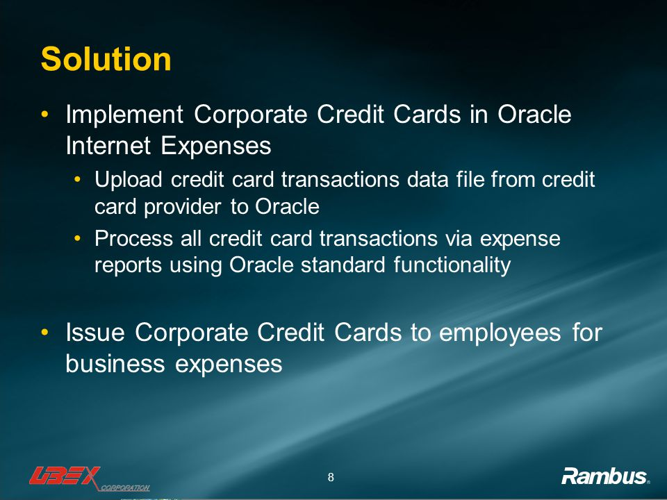 Solution Implement Corporate Credit Cards in Oracle Internet Expenses