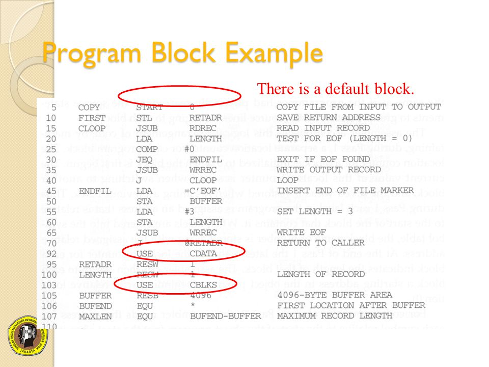 Program Block Example There is a default block.