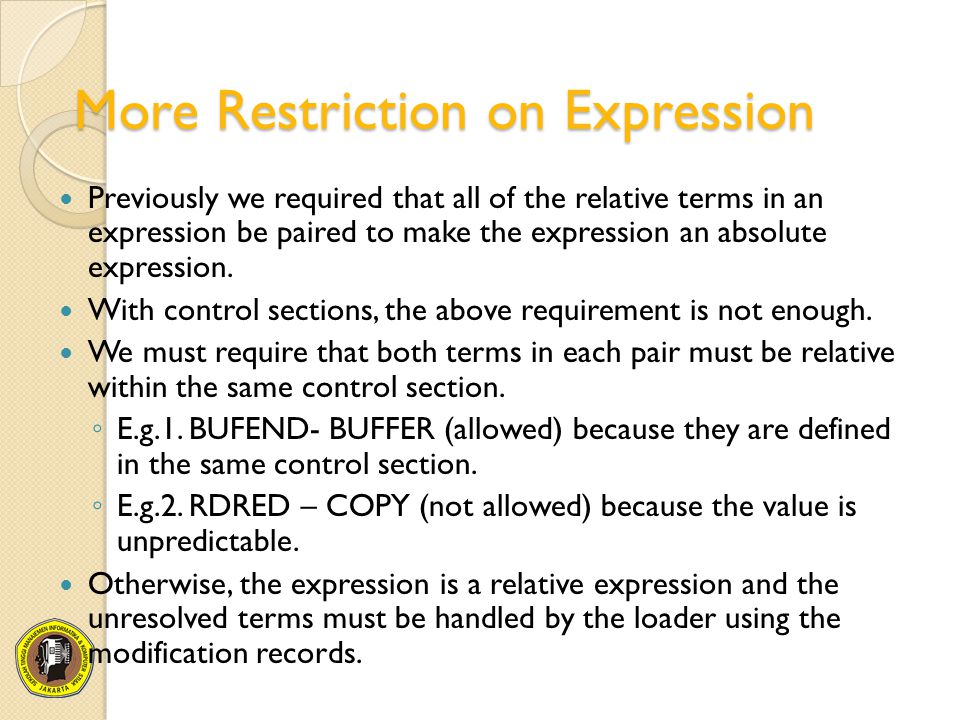 More Restriction on Expression