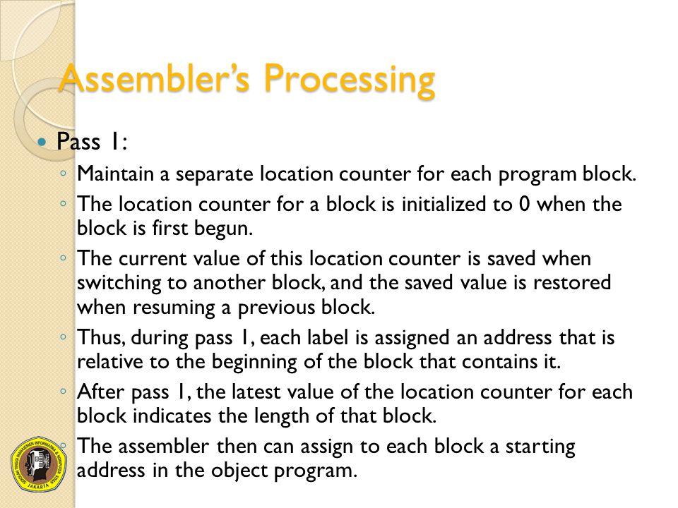 Assembler's Processing