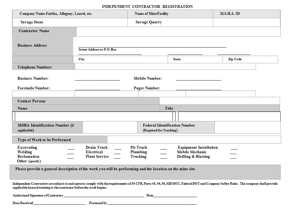 INDEPENDENT CONTRACTOR REGISTRATION