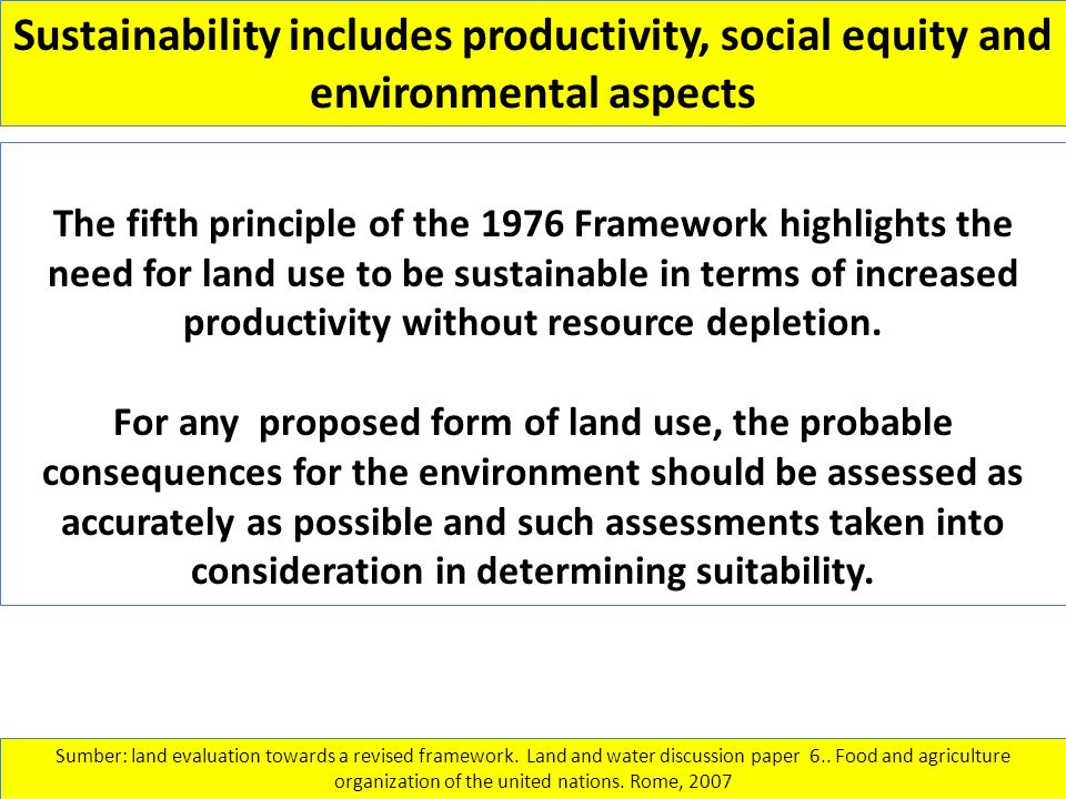 Sustainability includes productivity, social equity and environmental aspects