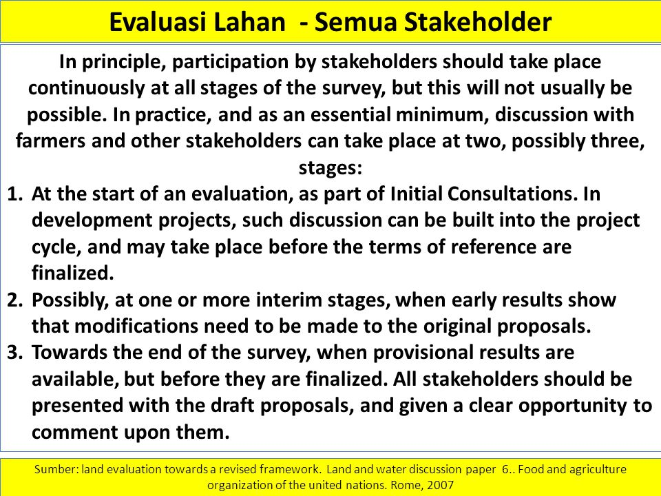 Evaluasi Lahan - Semua Stakeholder