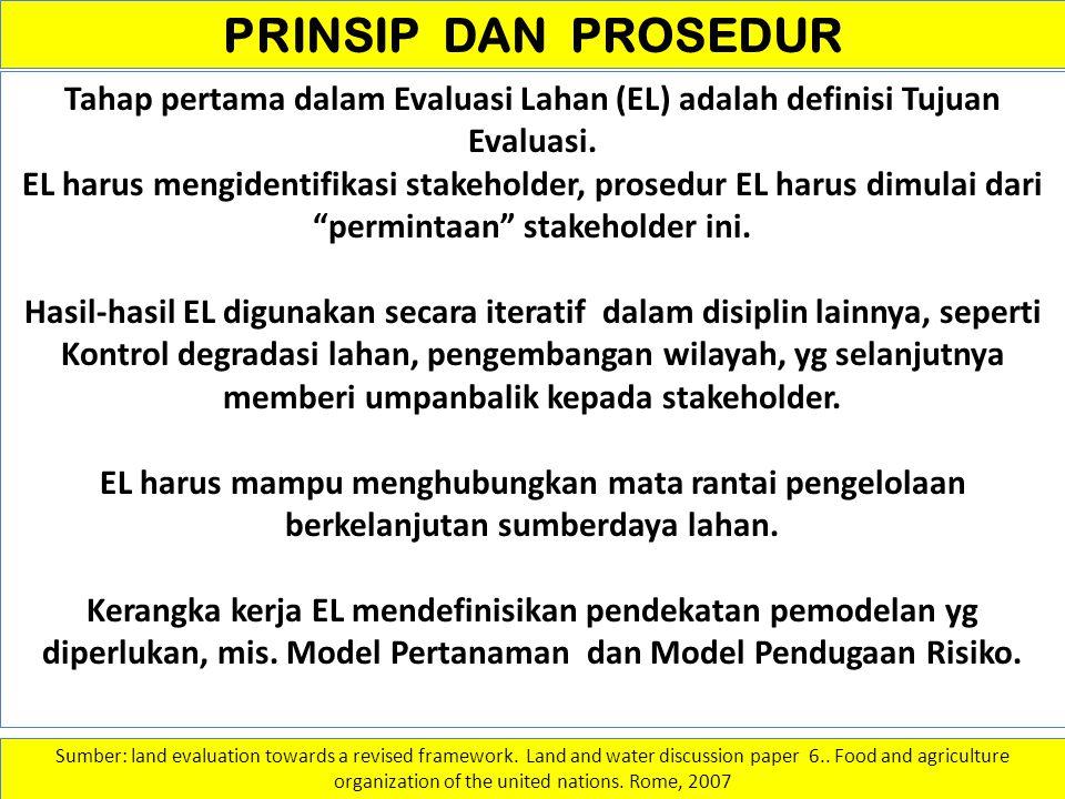 PRINSIP DAN PROSEDUR Tahap pertama dalam Evaluasi Lahan (EL) adalah definisi Tujuan Evaluasi.