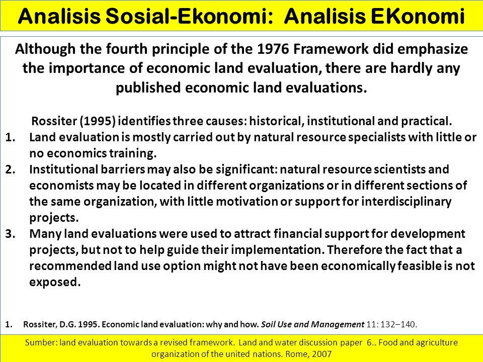 Analisis Sosial-Ekonomi: Analisis EKonomi