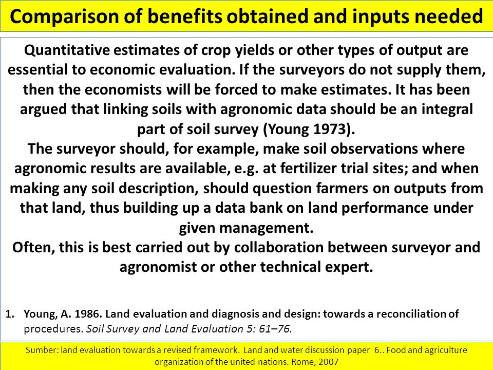 Comparison of benefits obtained and inputs needed