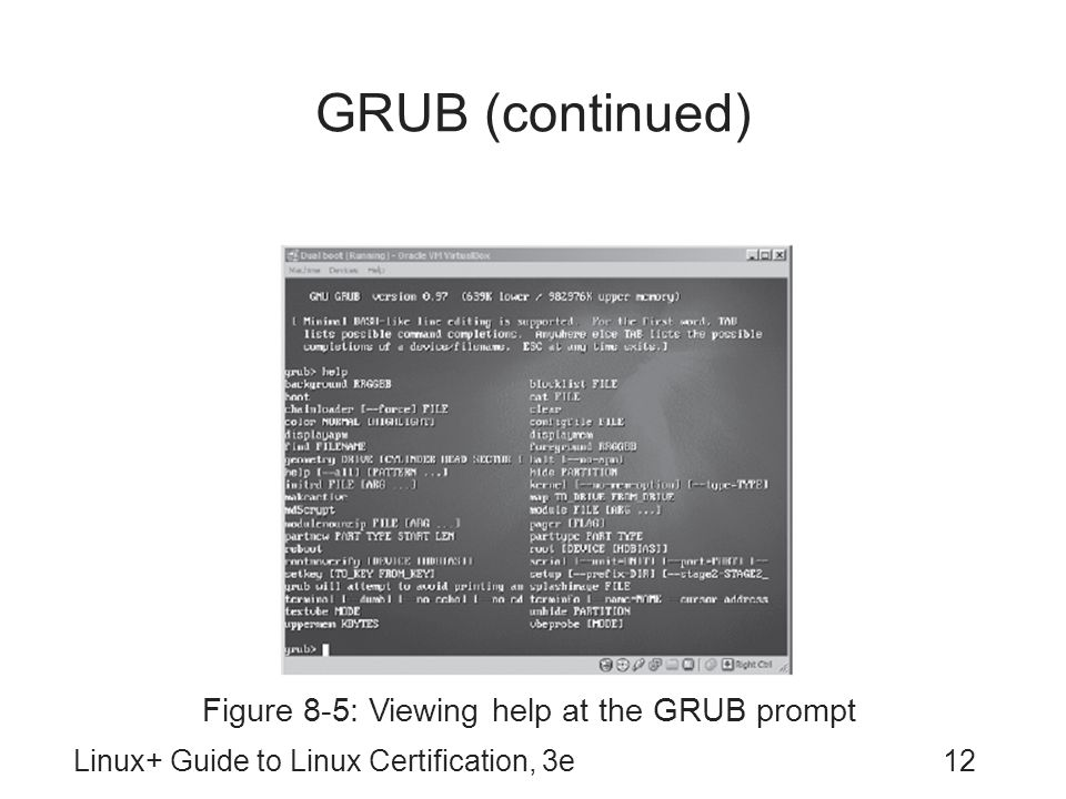 Figure 8-5: Viewing help at the GRUB prompt