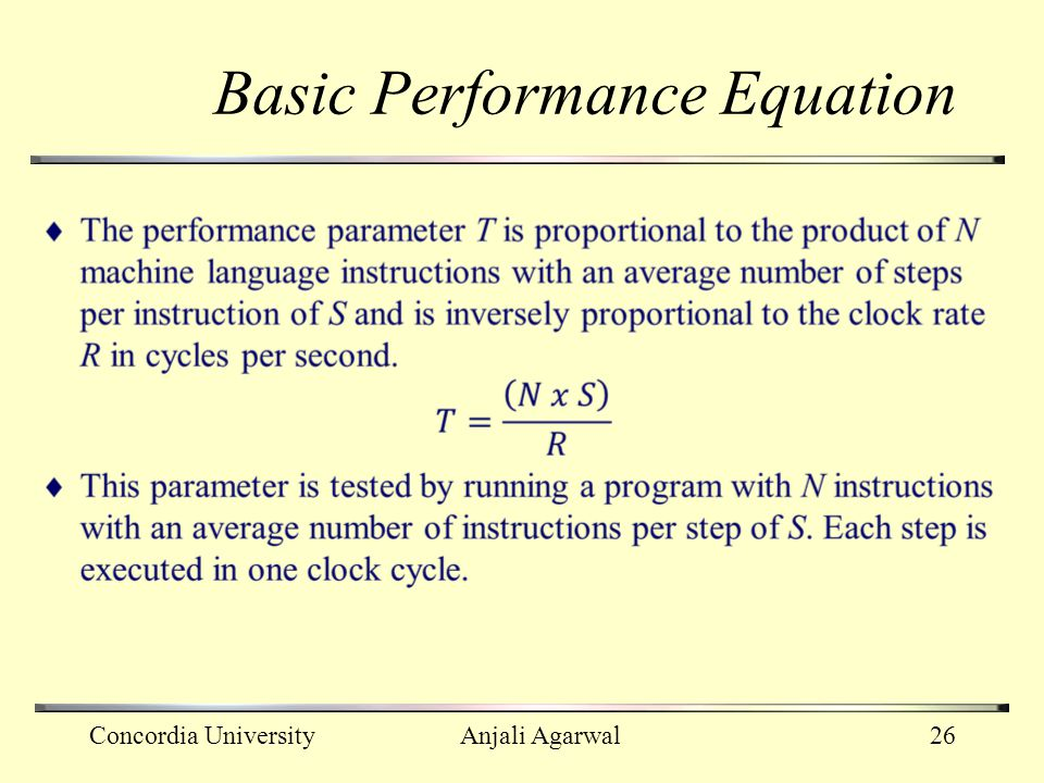 Basic Performance Equation