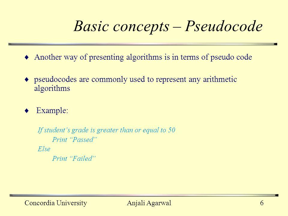 Basic concepts – Pseudocode
