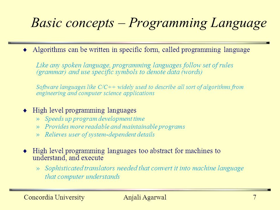 Basic concepts – Programming Language