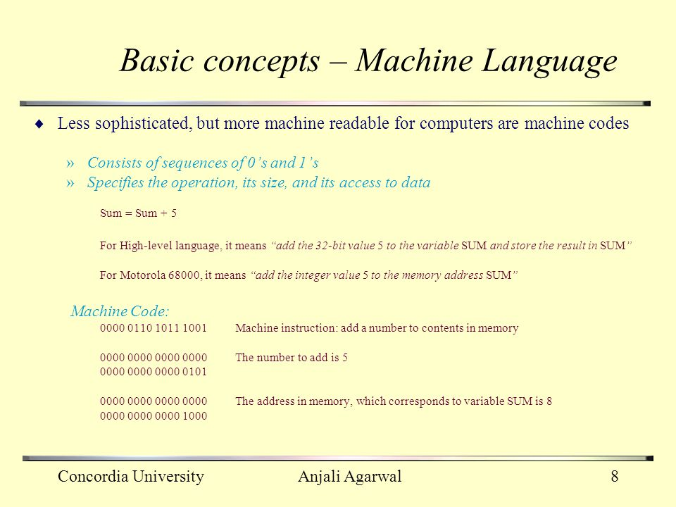 Basic concepts – Machine Language
