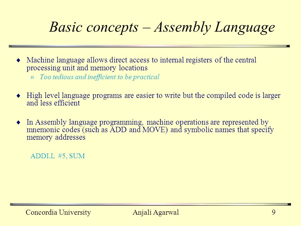 Basic concepts – Assembly Language