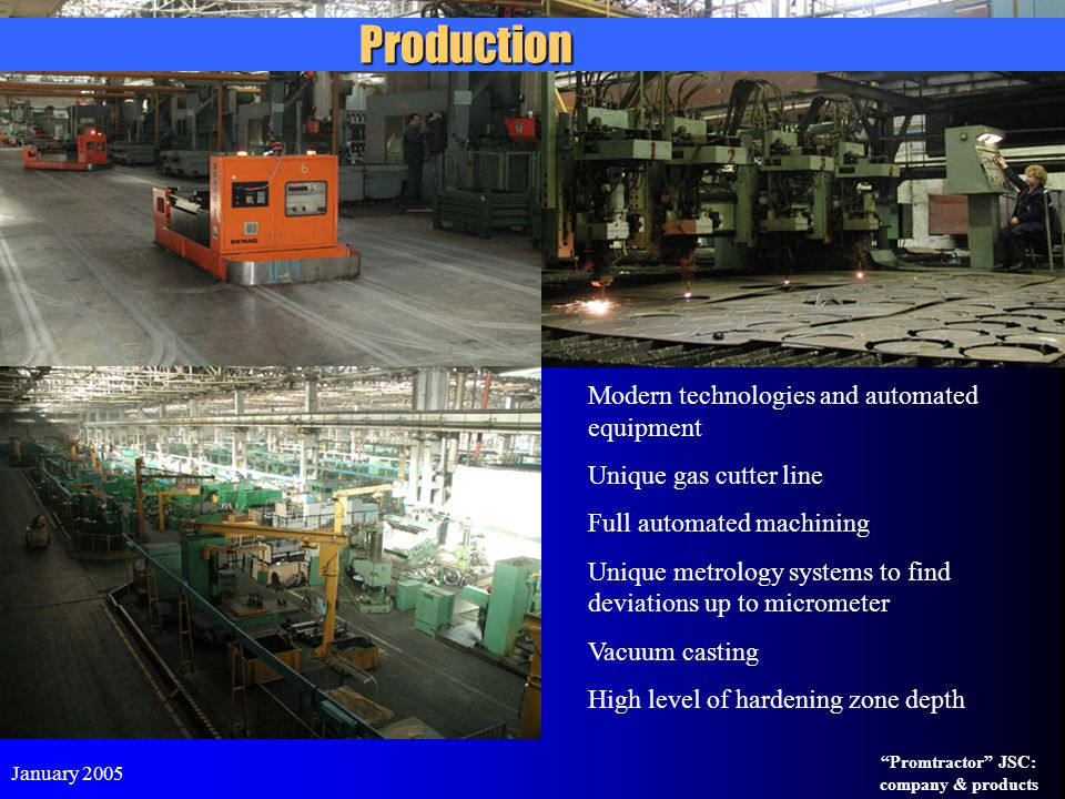 Production Modern technologies and automated equipment