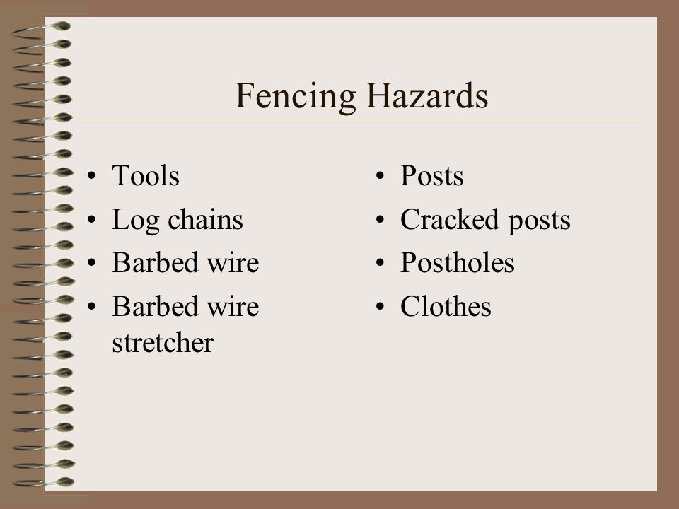 Fencing Hazards Tools Log chains Barbed wire Barbed wire stretcher