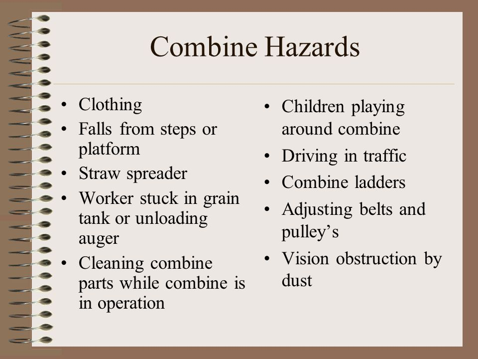 Combine Hazards Clothing Falls from steps or platform Straw spreader