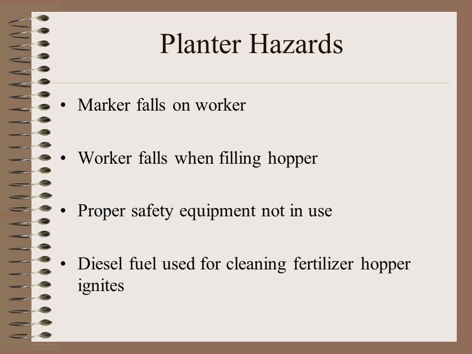 Planter Hazards Marker falls on worker