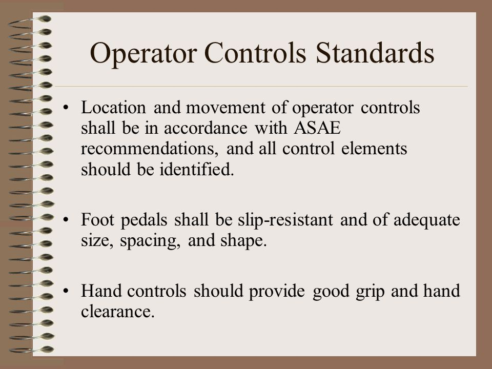 Operator Controls Standards
