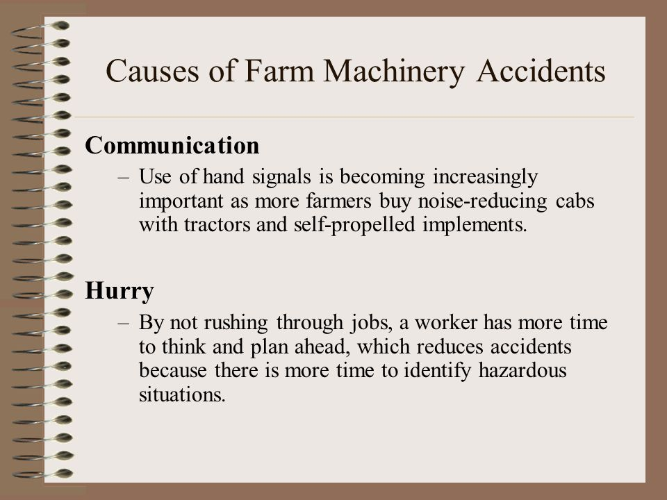 Causes of Farm Machinery Accidents
