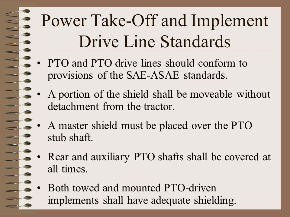 Power Take-Off and Implement Drive Line Standards