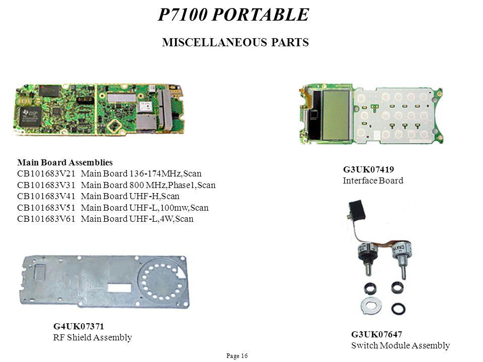 P7100 PORTABLE MISCELLANEOUS PARTS Main Board Assemblies