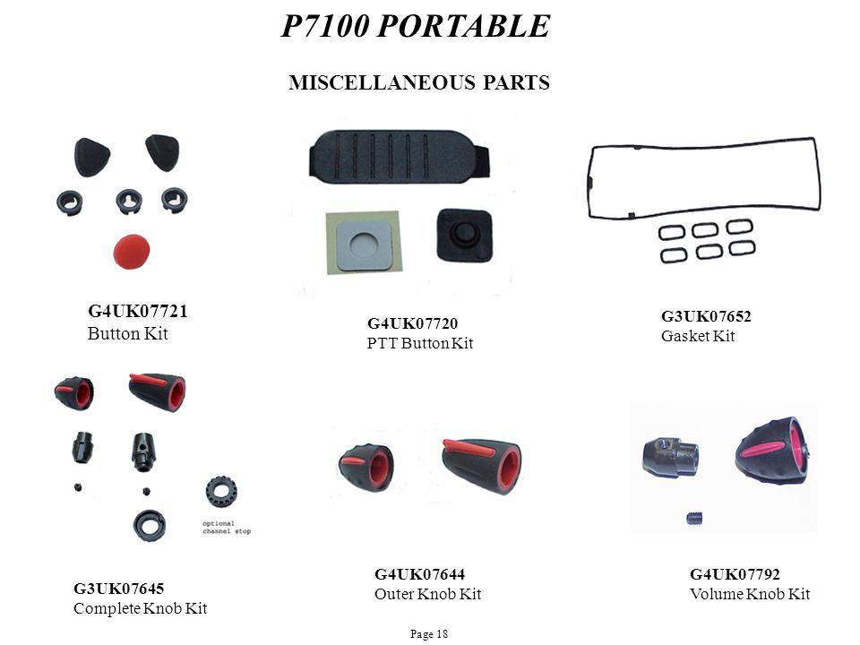 P7100 PORTABLE MISCELLANEOUS PARTS G4UK07721 Button Kit G3UK07652