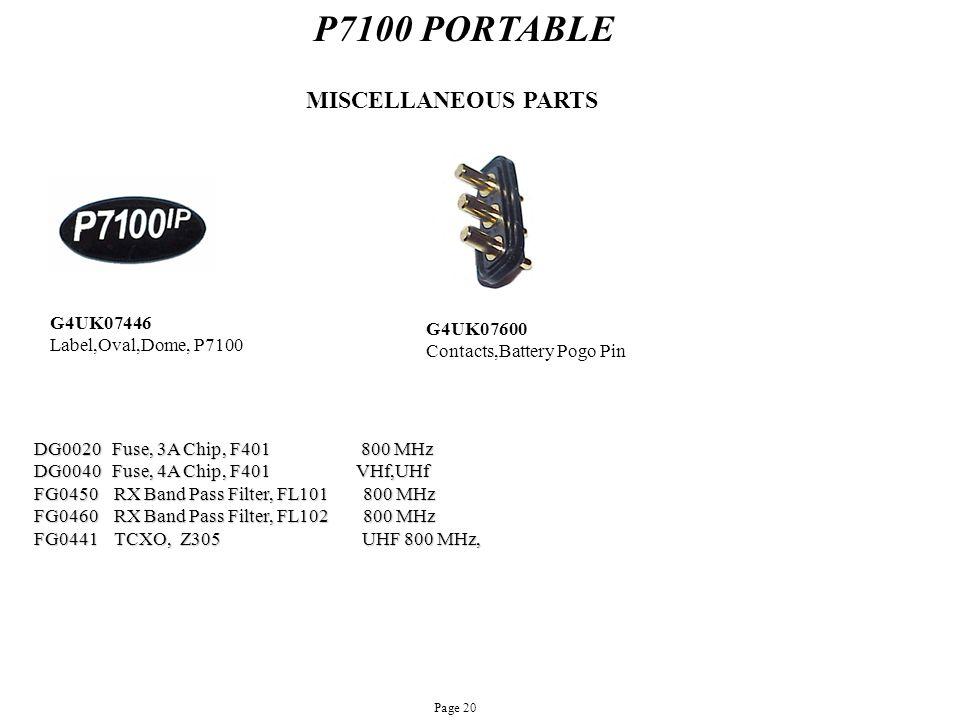 P7100 PORTABLE MISCELLANEOUS PARTS G4UK07446 G4UK07600