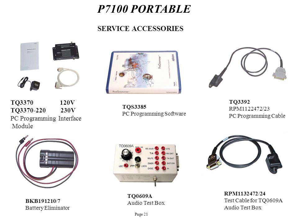P7100 PORTABLE SERVICE ACCESSORIES TQ3370 120V TQ3370-220 230V