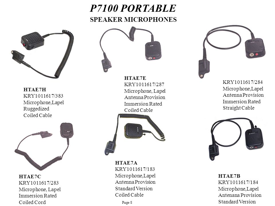 P7100 PORTABLE SPEAKER MICROPHONES HTAE7D HTAE7E KRY1011617/284