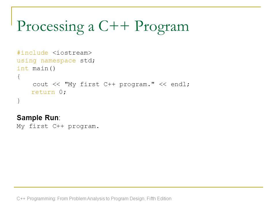 Processing a C++ Program