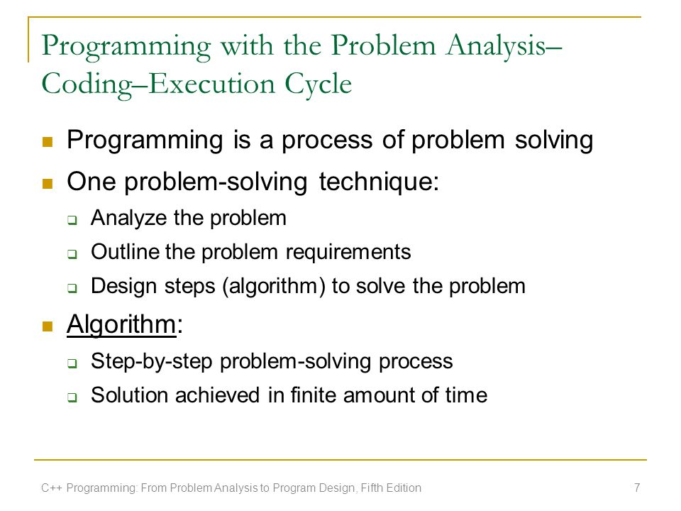 Programming with the Problem Analysis–Coding–Execution Cycle
