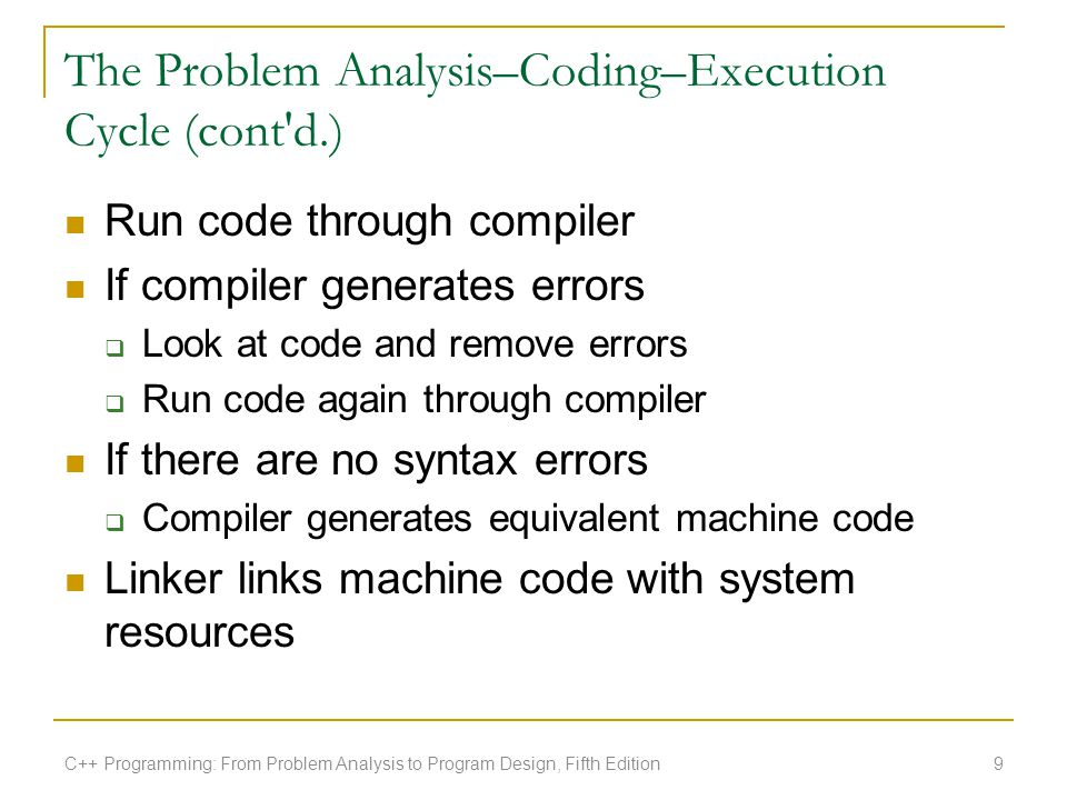 The Problem Analysis–Coding–Execution Cycle (cont d.)