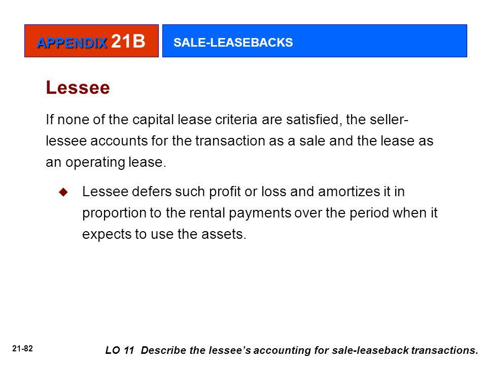 APPENDIX 21B SALE-LEASEBACKS. Lessee.