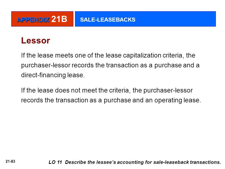 APPENDIX 21B SALE-LEASEBACKS. Lessor.