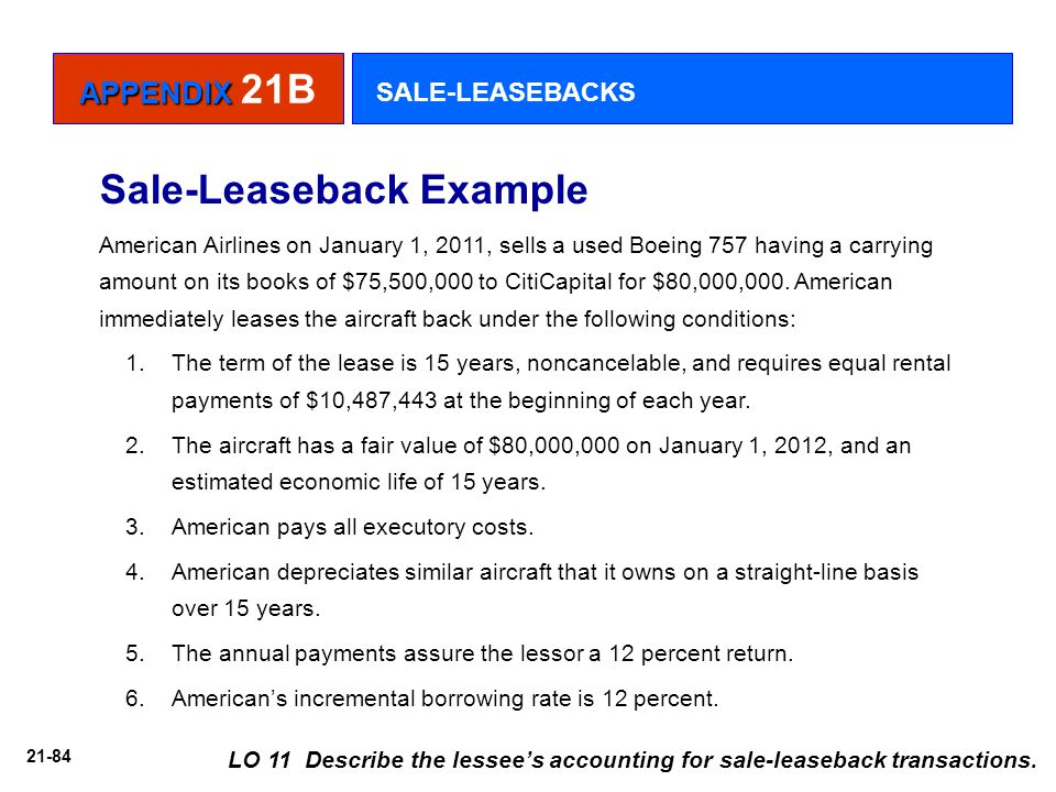 Sale-Leaseback Example