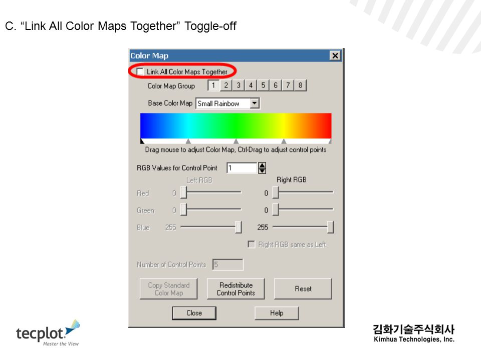 C. Link All Color Maps Together Toggle-off