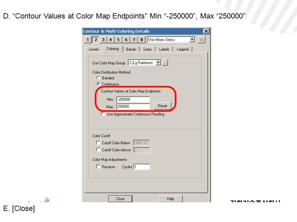 D. Contour Values at Color Map Endpoints Min -250000 , Max 250000