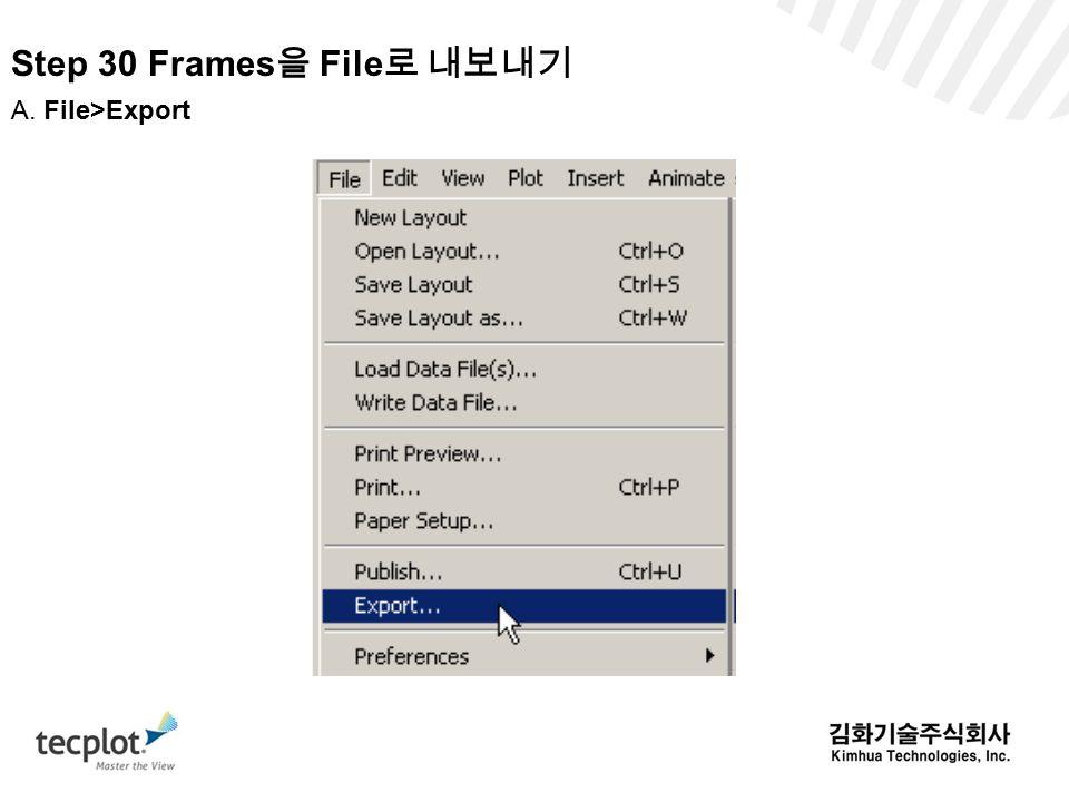 Step 30 Frames을 File로 내보내기