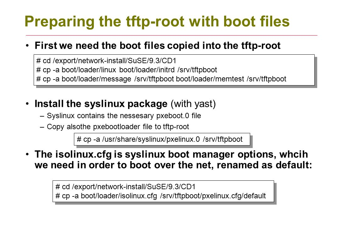 Preparing the tftp-root with boot files