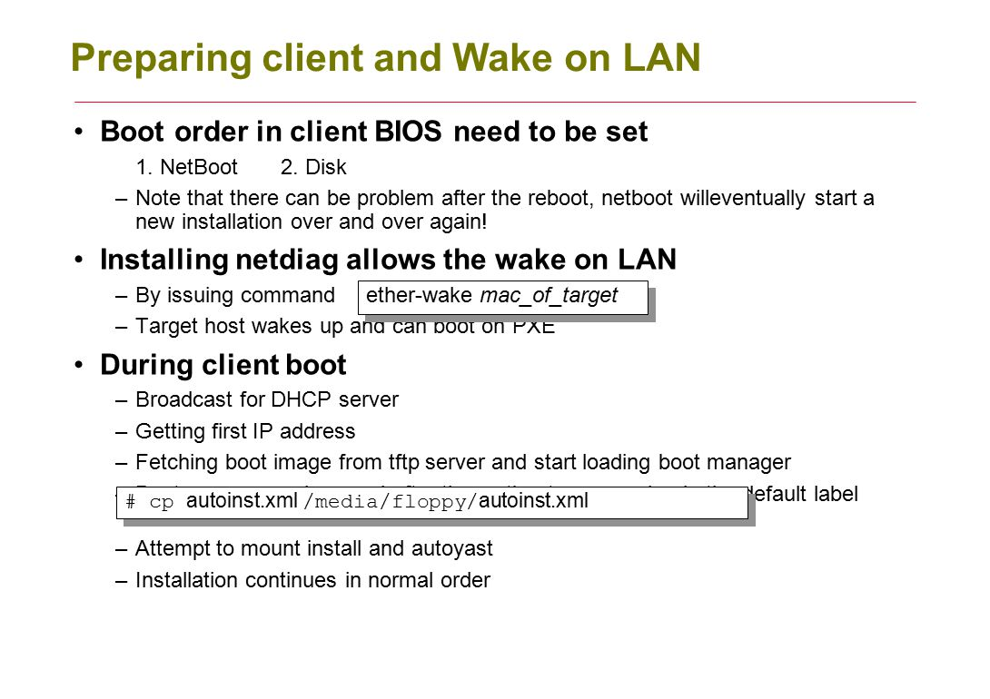 Preparing client and Wake on LAN