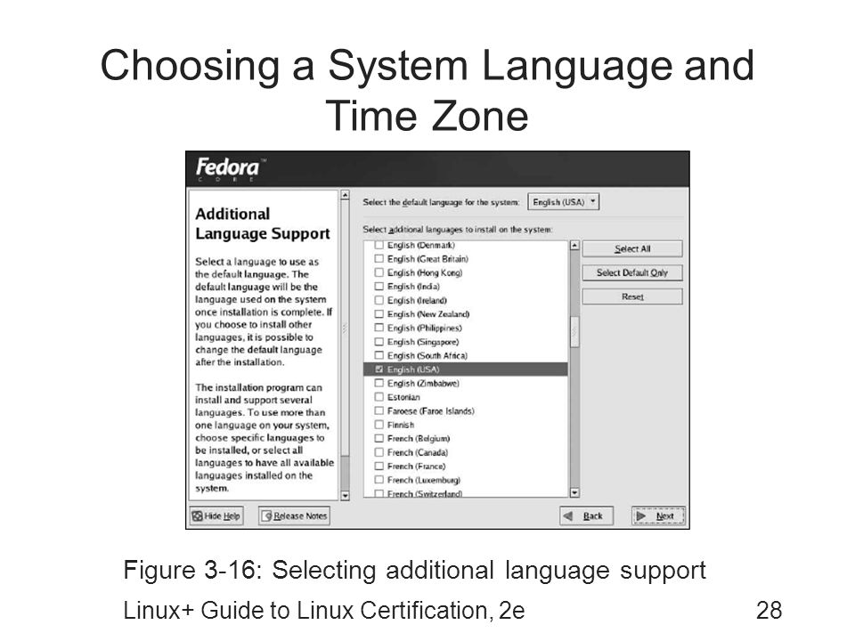 Choosing a System Language and Time Zone