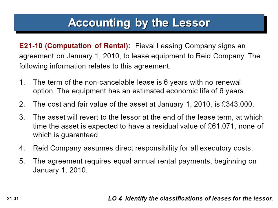 Accounting by the Lessor