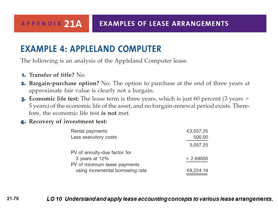 LO 10 Understand and apply lease accounting concepts to various lease arrangements.