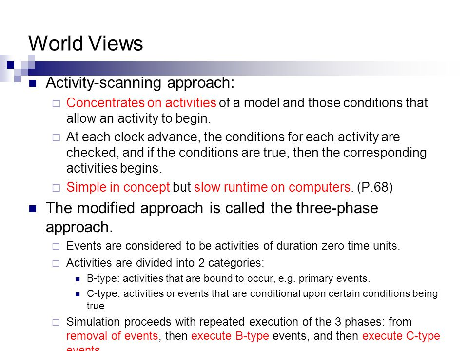 World Views Activity-scanning approach: