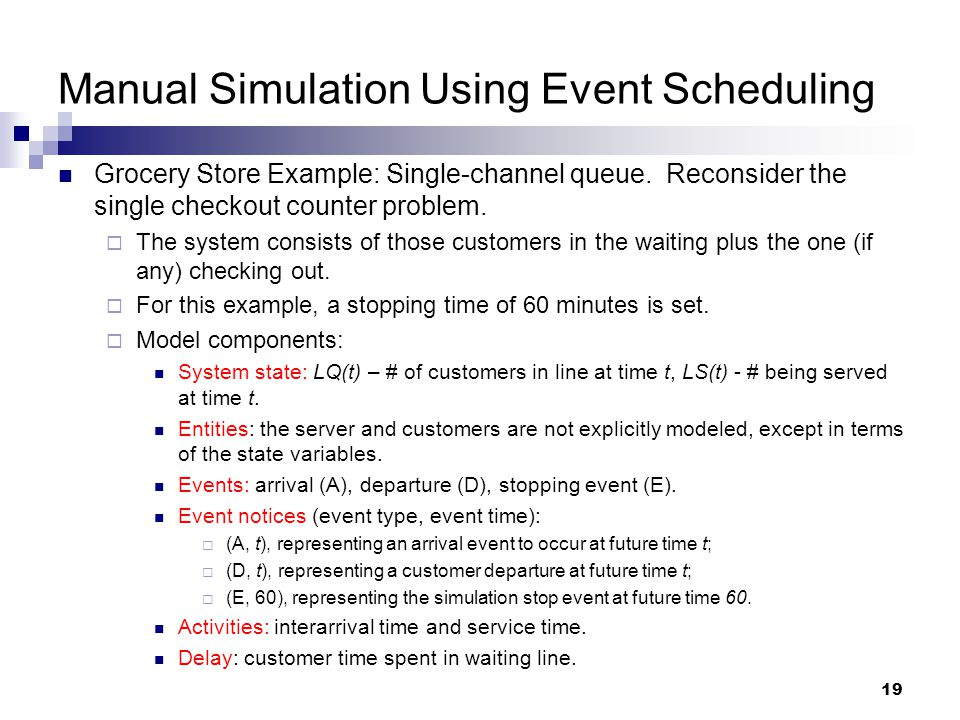 Manual Simulation Using Event Scheduling
