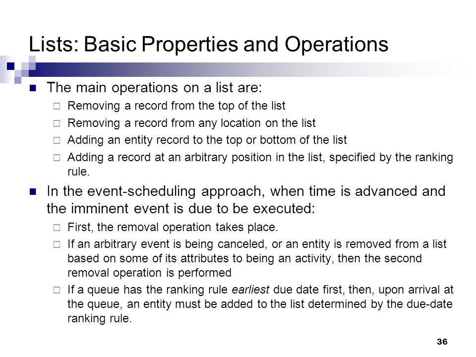 Lists: Basic Properties and Operations