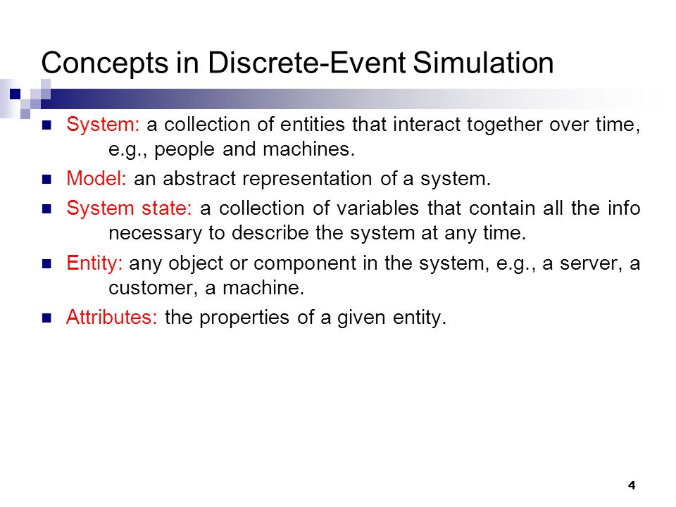 Concepts in Discrete-Event Simulation