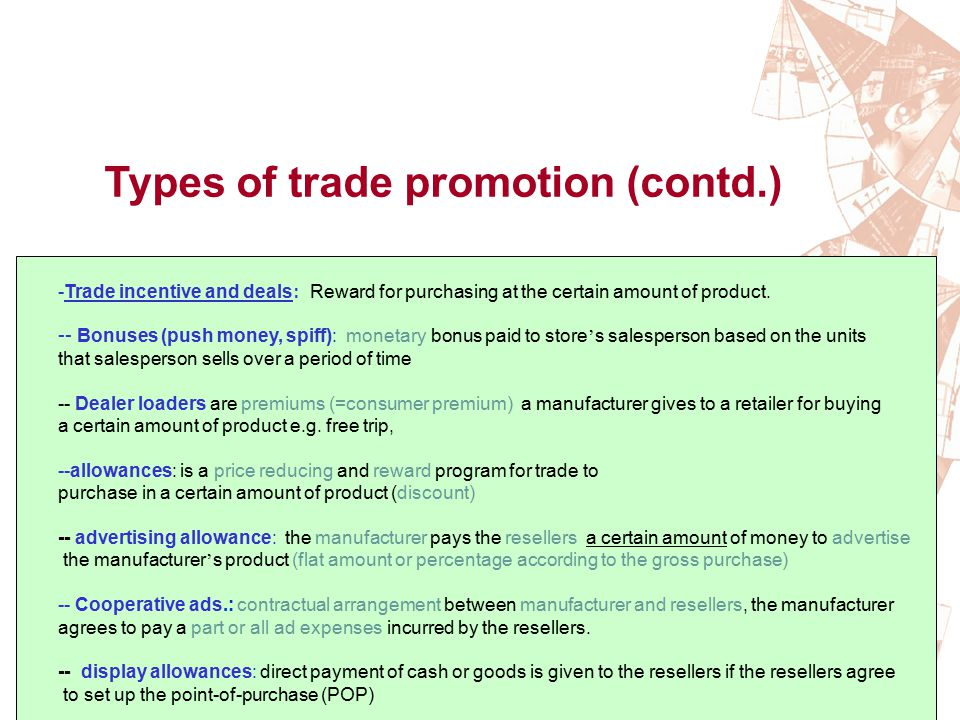 Types of trade promotion (contd.)
