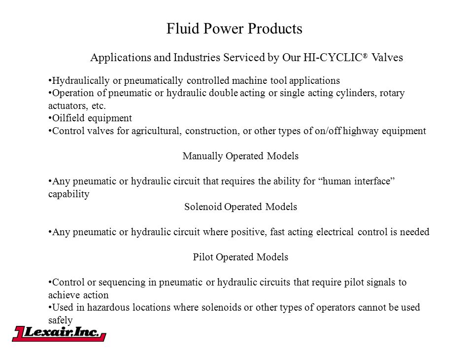Fluid Power Products Applications and Industries Serviced by Our HI-CYCLIC® Valves.